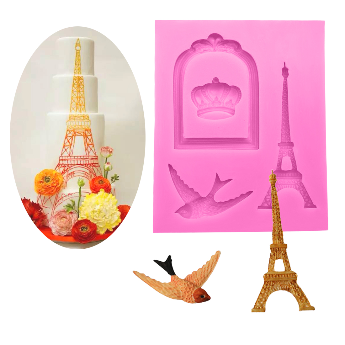 Eiffel Tower Crown Bird Shape Silicone Fondant Cake Mold ...