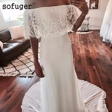 Sexy Boat Neck Beach Off-the-Shoulder Wedding Dresses  Lace Dress Count Train Bohemian Style Bridal Gowns
