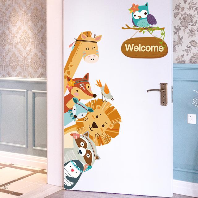 Cartoon Animals Wall Stickers DIY Children Mural Decals for Kids Rooms Baby