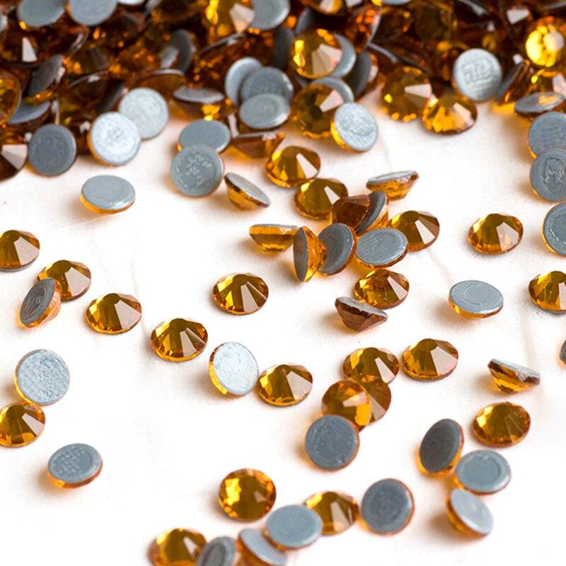2058HF Topaz Všechny velikosti skla FlatBack štrasové sklo drahokamu nášivka kutilství kameny a krystaly doplňky srdce železo