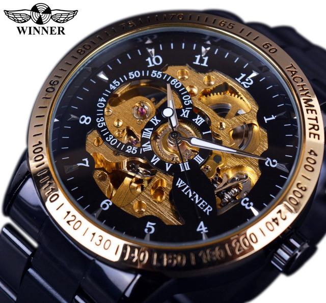 Vencedor Clássico Retro Escala Ouro Caso Pequeno Projeto de Discagem Relogio masculino Mens Relógios Top Marca de Luxo Automático do Relógio de Pulso
