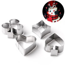4pcs/Set Creative Poker Card Cookie Mold 3D Stainless Steel Cake Mould Fondant Bread Cutter Wedding Baking Tools