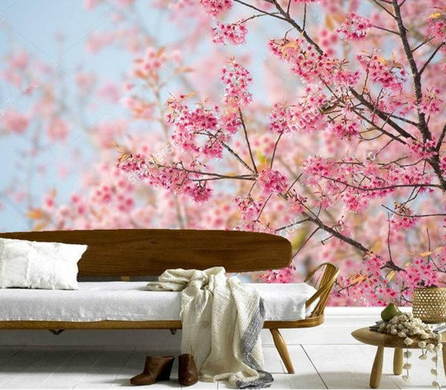 Online Shop Custom large murals,Beautiful cherry blossoms wallpaper ...