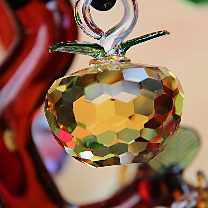 40mm new Year Chirstmas Tree Hanging Cut Crystal Glass Apple Ornaments 2017 natale Navidad Curtains Home natal decorations gifts