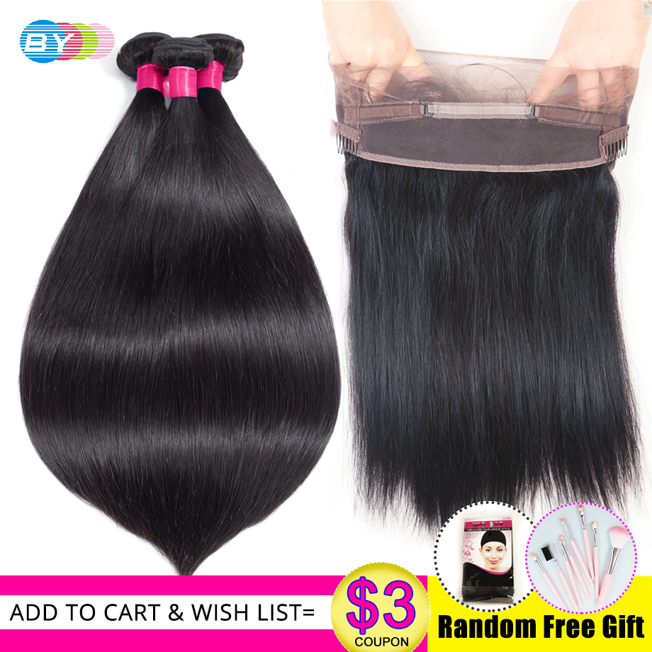 Straight Hair Bundles With Frontal HD Swiss Lace Pre Plucked With Baby Hair Remy Human Hair