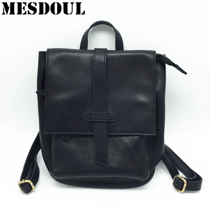 Haute qualité 100% en cuir véritable femmes sac à dos petit mode solide sacs d'école pour adolescente filles décontracté femmes noir sacs à dos