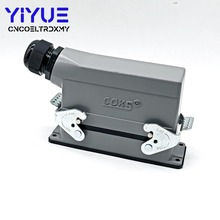 Rectangular HDC - HE - 024-1 heavy duty connectors 24 pin line 16 a500v screw feet of aviation plug on the side