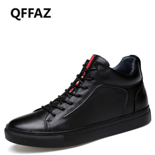 QFFAZ Men Boots Warm Plush Winter Shoes Fashion Men Snow Boots Lace Up Male Ankle Boots Black Cotton Men Shoes Big Size 38-48