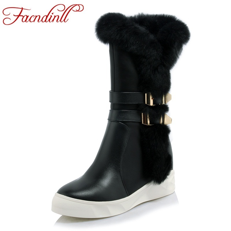 FACNDINLL new women snow boots genuine leather fur winter warm shoes woman wedge high heels ankle boots female boots botas mujer стоимость