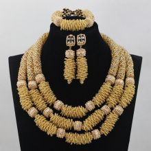 New Champagne Gold 18K African Wedding Nigerian Beads Jewelry Set Women Costume Anniversary Jewelry Set New