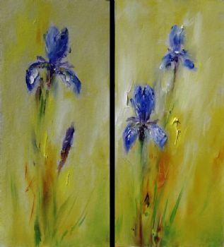 Pintura al óleo pintada a mano Iris Diptych-pintura al óleo moderna sobre lienzo arte pared decoración-pintura al óleo Floral pared arte