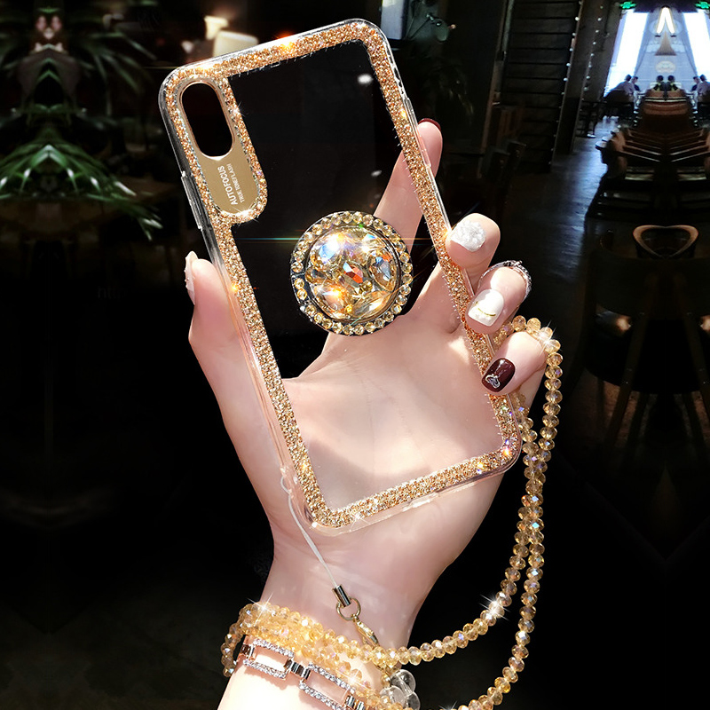 Luxury Bling Glitter With Finger Ring Case For IPhone X 8 7 6 6S Plus XR XS Max Cover Fashion Diamond Soft TPU Phone Coque Cases
