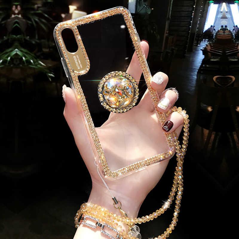 Luksusowy błyszczący brokat z palcem serdecznym etui dla iphone'a x 8 7 6 6S Plus XR XS 11 Pro Max okładka moda diamentowe miękkie etui z tpu na telefon