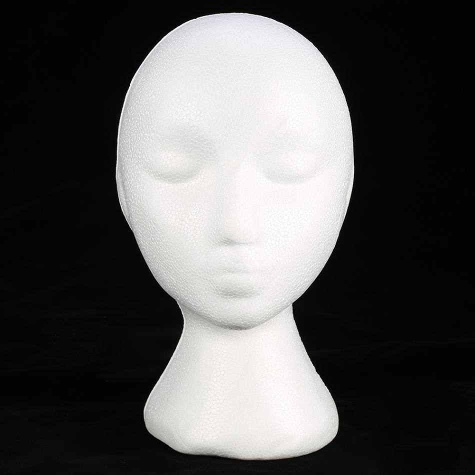 1PC Portable Foam Wig White Female Foam Manikin Head Model Wig Stand Hat Headwear Displaying Foam Mannequin Head bust