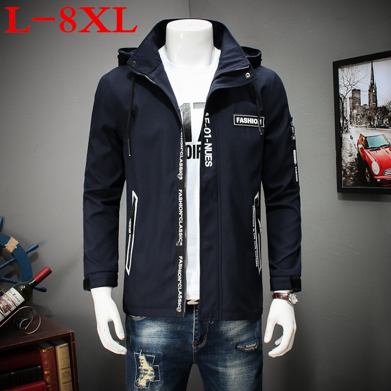 high quality plus size 8XL 7XL 6XL 5XL New spring and autumn Brand Detachable hat Clothing Men Jackets Casual Zipper Fit Coat men hiking jackets big size 5xl 6xl 7xl 8xl soft shell outdoors jackets thin breathable detachable hood climbing camping coat