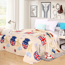 Home Textile British Blankets Soft and Warm Coral Fleece Velvet Plaid Blanket Bed Sheet Throw on Bedding Twin Full Queen King