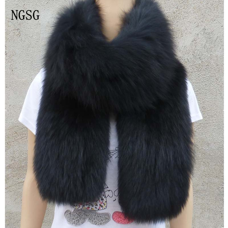 NGSG Real Fox Fur Women Scarf 200 cm Length Female Genuine Fur Material Scarves Black White And Gray Fluffy Thickness Fashion