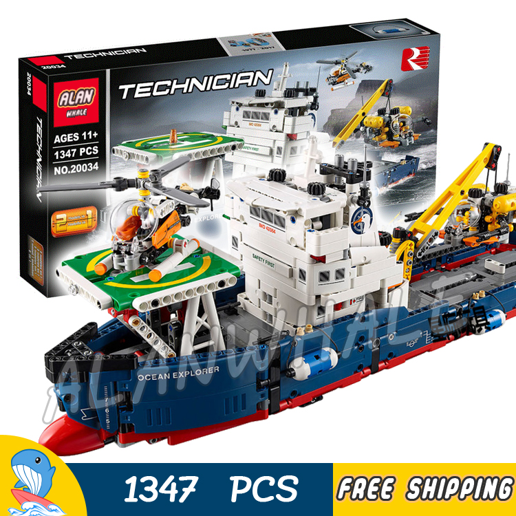 1347pcs Techinic 2in1 Ocean Explorer 20034 DIY Model Ships Helicopters Building Kit Blocks Gifts Toys Sets Compatible With lego 720pcs techinic 2in1 motorized container