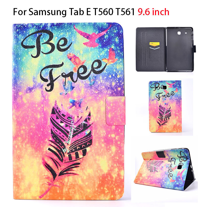 Ultra Slim Print Flip PU For Samsung Galaxy Tab E 9.6 Case For Samsung Galaxy Tab E T560 SM-T560 T561 Sleep Cover Tablet Funda планшет samsung galaxy tab e 9 6 8gb 3g black sm t561