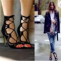 2017 Мода Женщин сексуальное Насосы Женская Обувь Сандалии зашнуровать Высокие каблуки Вырезами Обувь Лето Открытым Носком Sapato Femininos Плюс размер
