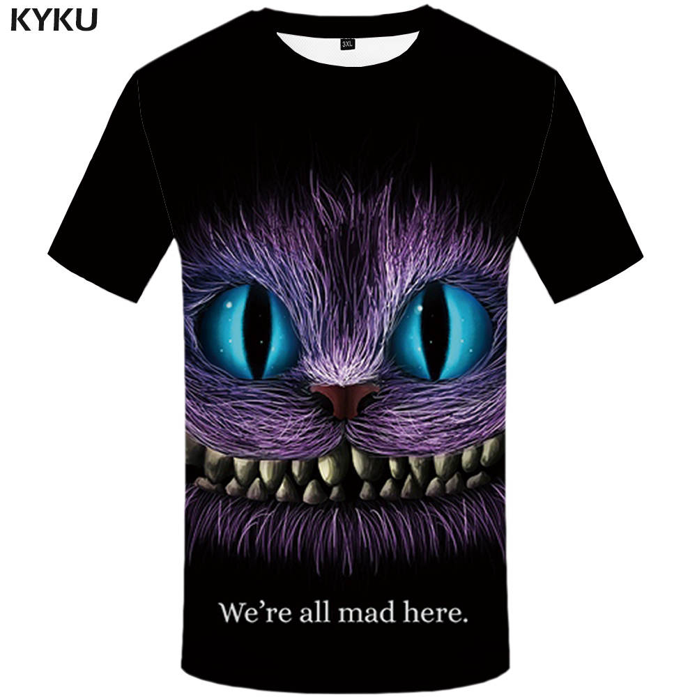 KYKU Brand Cat T Shirt Women Animal Tshirt Cheshire 3d Print T-Shirt Funny T Shirts Anime Womens Clothing Summer 2019 New Tops