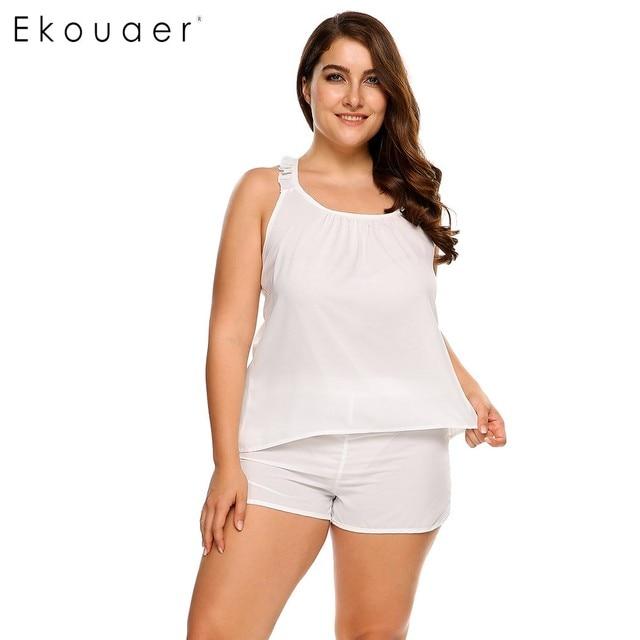 3473f9f7beb93f Ekouaer 2017 Plus Size Nightwear Solid Casual Women Sleepwear Solid Ruffles  Strap Tank Top   Shorts Pajama Set L-4XL