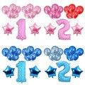 BTRUDI 1pc Pink Blue Gold Number 2pcs Aluminum foil stars 10pcs balloons Boy girl birthday party activity atmosphere decoration