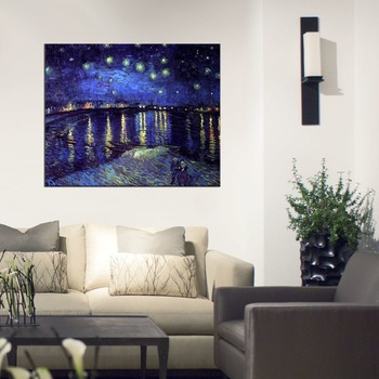 Handmade Starry Night over The Rhone by Vincent Van Gogh Oil Painting Reproduction on Canvas Modern Home Decor Wall Art Painting