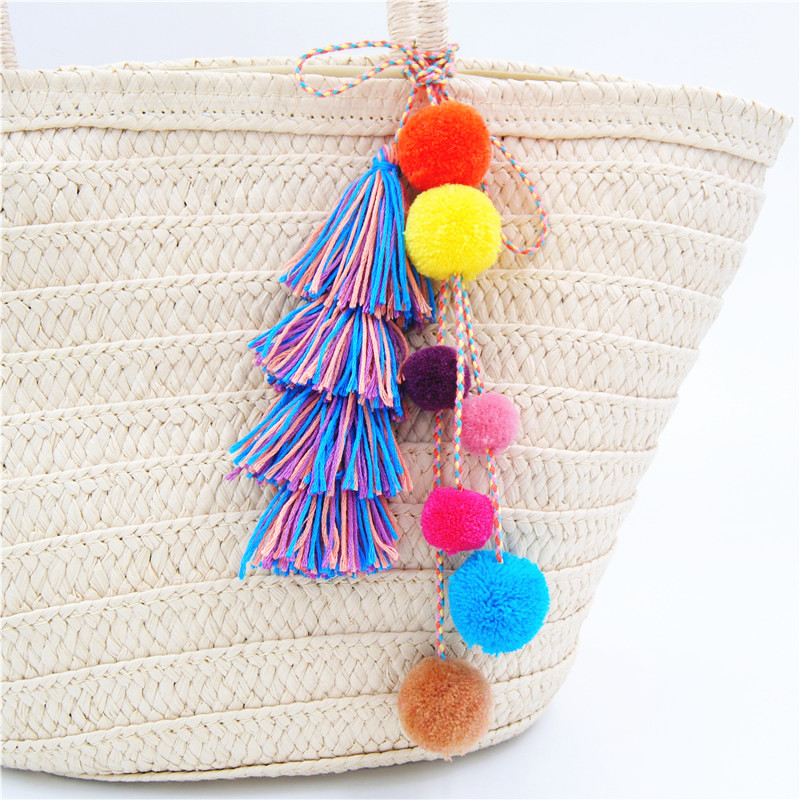 1pc Colorful Pompones Tassels Pompom For Women Purse Accessories Bag - Fashion Jewelry