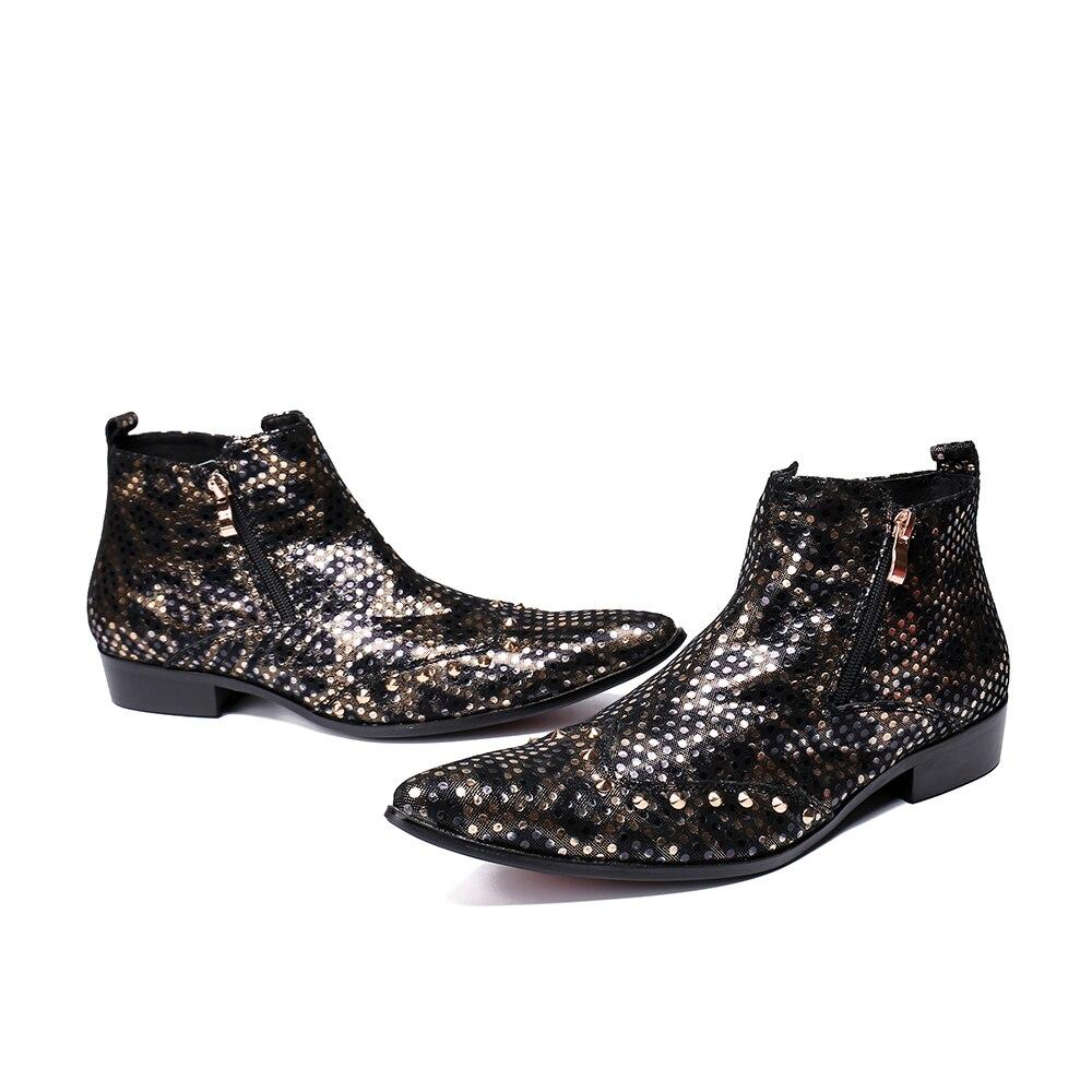 Hombres Bella Pie La Vaquero Genuino Boda Vestir Los Punto Dedo Moda Oro Del Christia Negro De Británico Zapatos Botas Cuero Fiesta Puntiagudo UY6cdqYSz