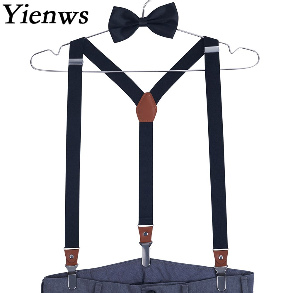 Yienws Mens Suspenders And Bow Tie Adult 3 Clip Button Pants Braces Suspensorio Women Pink Red Suspenders Bowtie Set YiA036