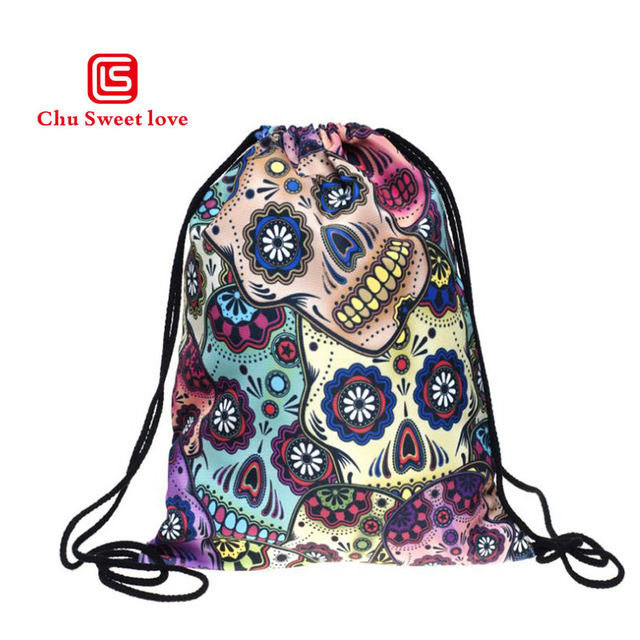 ff23d0b690 New 3D Digital Print Mexican Skull Athletic Drawstring Bag Travel Sport  Storage Shoes Pocket WomenFemale Personality Canvas Bags