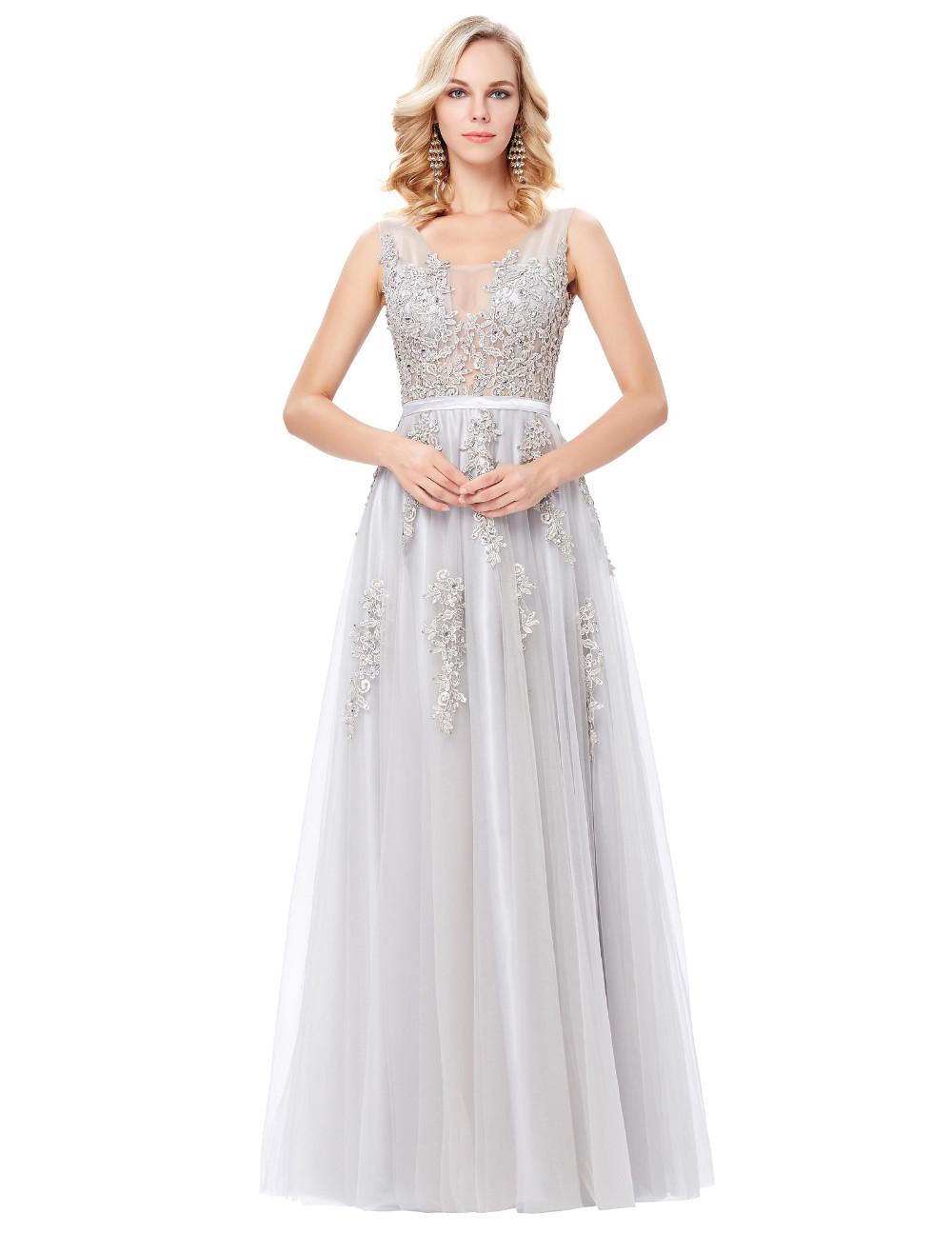 Grace Karin Tulle Appliques Celebrity Prom Dress Sexy V Back Sleeveless Long Royal Blue Robes De Soiree 2017 Longue Prom Dresses 21
