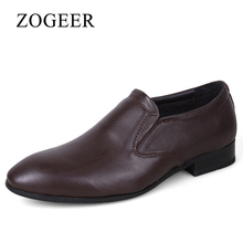 ZOGEER New 2017 Men Dress Shoes, Big Size 38-50 Genuine Leather Mens Formal Shoes, Pointed Toe Oxfords Fashion Man Wedding Shoe