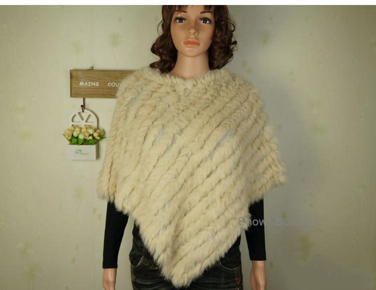 natural real knitted rabbit fur poncho shawl (21)