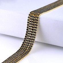 Claw Crystal Chain 10 Yards Single Row Dense Rhinestones Fabric DIY Crystals Strass Trim Sewing For Needlework
