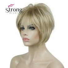 StrongBeauty Peluca de pelo sintético, corta, en capas, gruesa, esponjosa, de color rubio