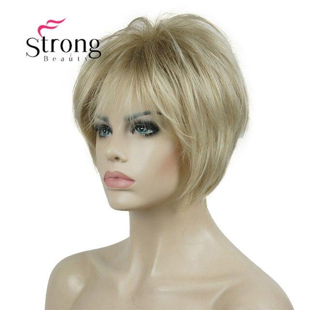 Strongbeauty 짧은 계층화 된 금발 두꺼운 솜털 전체 합성 가발 열 ok