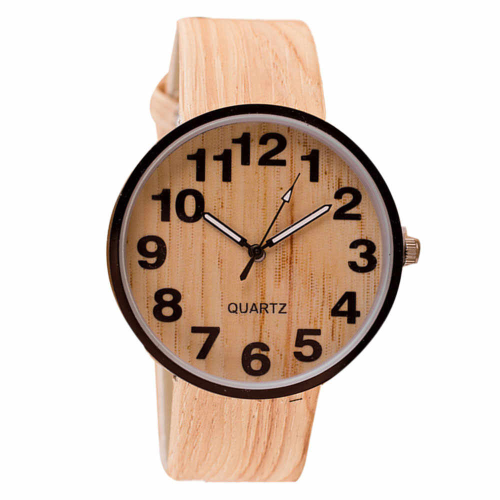 Style Wood Grain Leather Quartz Watch Women Dress Wristwatches Men Watch