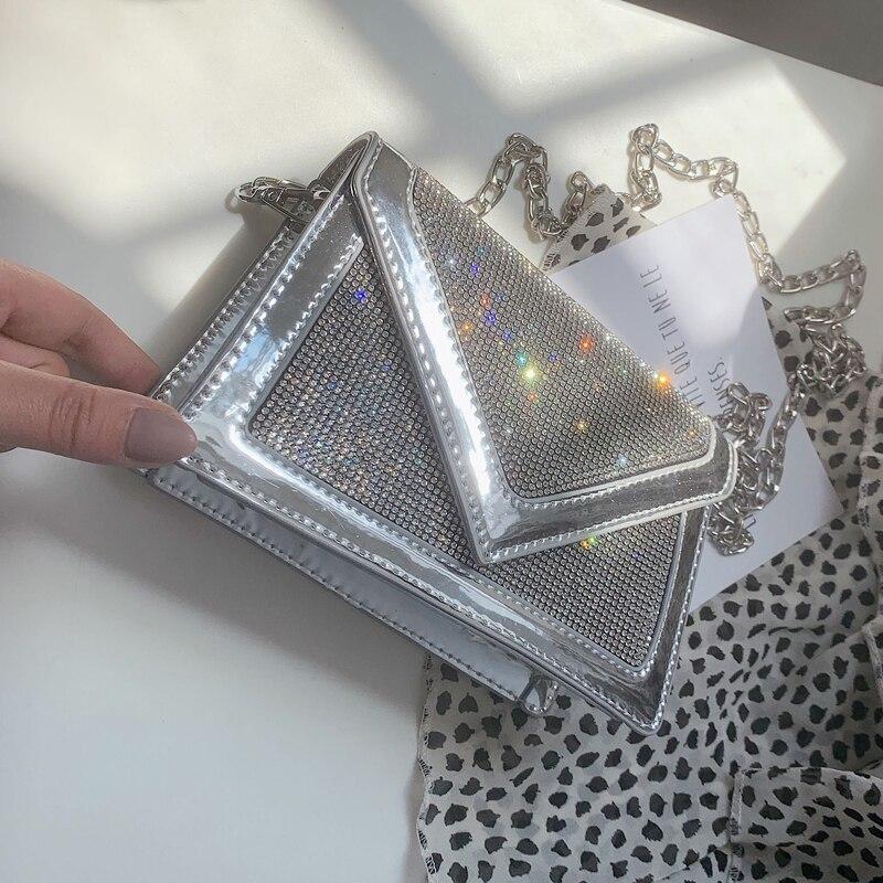 Diamond Sequins Flip Square package 2019 Summer New Quality PU Leather Women's Designer Handbag Chain Shoulder Messenger bags