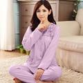 Осень Зима Хлопка С Длинными рукавами Пижамы Устанавливает женские Пижамы Трикотажные Досуг Главная Костюмы Mujer Пижама Женская Одежда 3XL