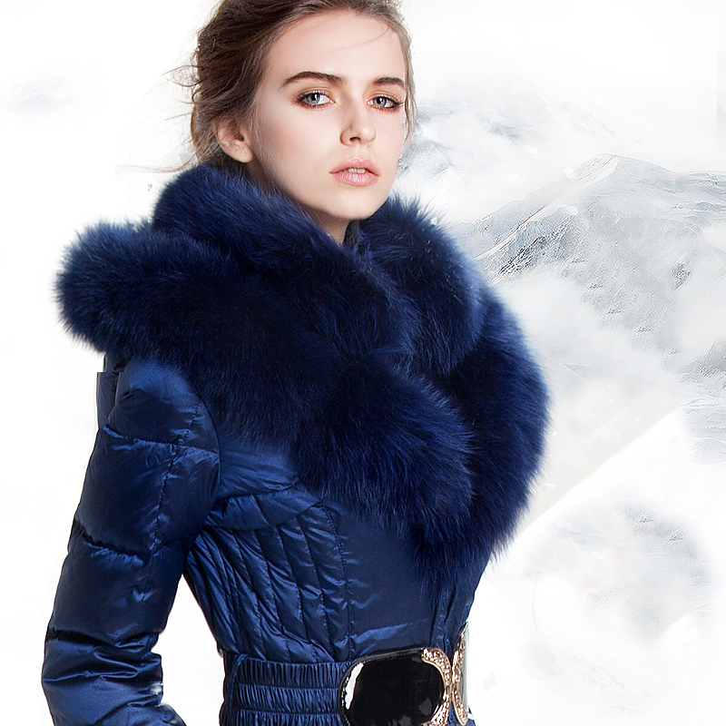 Luxury Fox Fur Hooded   Down     Coat   Womens 2017 Winter Royal Blue Thick Warm White Duck   Down   Jacket Women Medium Long   Coats