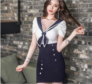 vestidos 2018 Freeshiping South Korean academy of wind sexy nightclubs uniform navy uniform color lapel Package buttocks dress.
