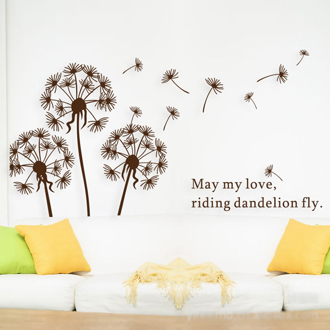 Free shipping, 5 pcs/lot Cute Dandelion decorative wall decor stickers wall  decals tree kids bedroom sticker 44*65cm LD695-in Wall Stickers from Home  ...