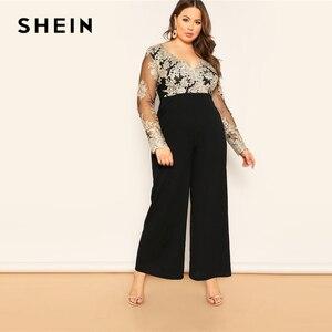 Image 3 - SHEIN Zwart Plus Size Geborduurde Contrast Mesh Lijfje Wijde Pijpen Vrouwen Vlakte Jumpsuits Diepe V hals Casual Longline Jumpsuit