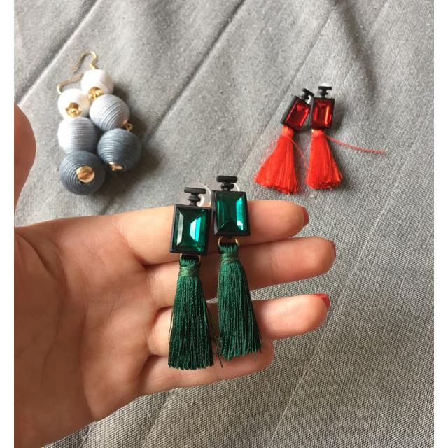 Diamond Cotton Tassel Earrings
