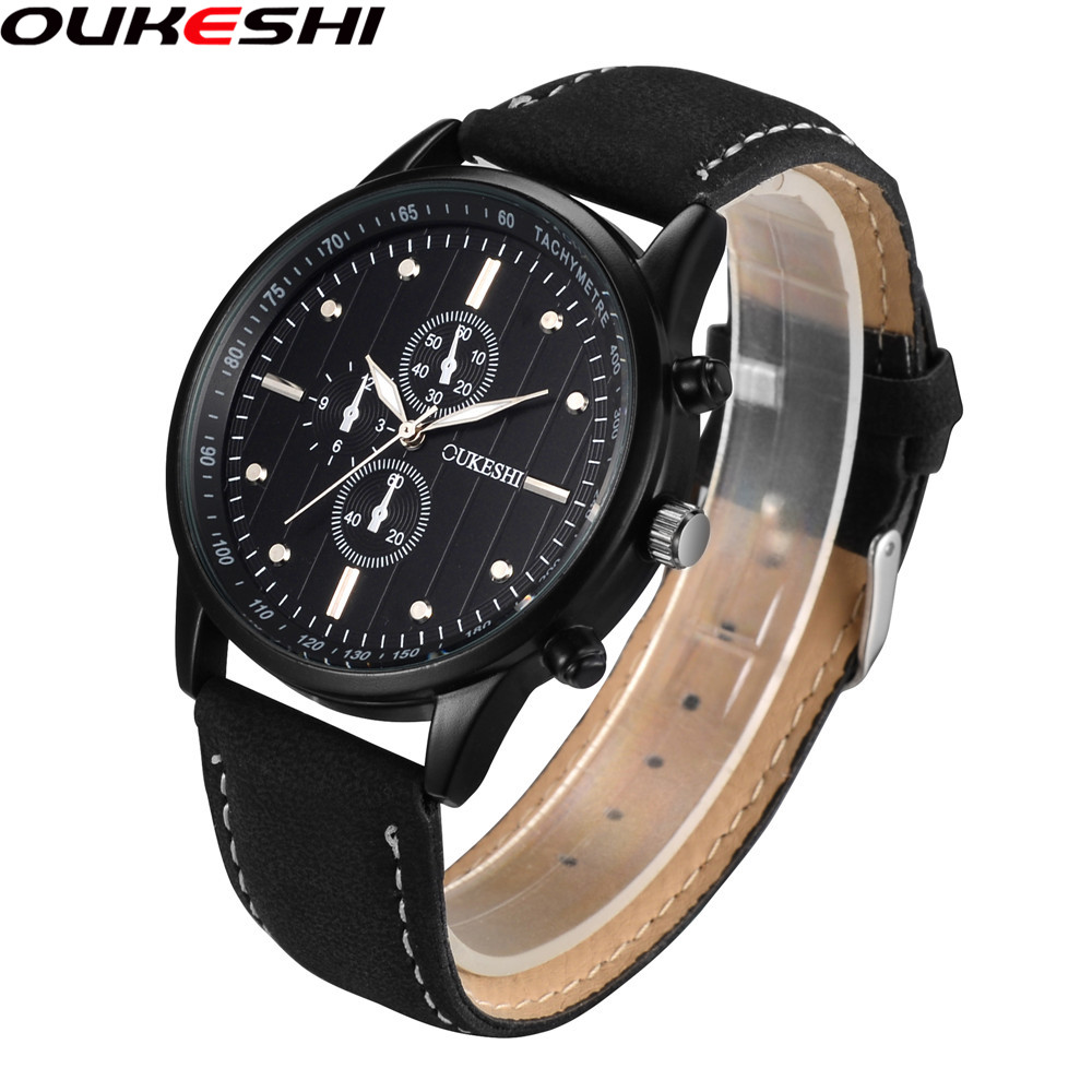 OUKESHI Brand Genuine Leather Wristwatch Men Sports Watches Relogio Masculino Military Watch Male Quartz OKS09
