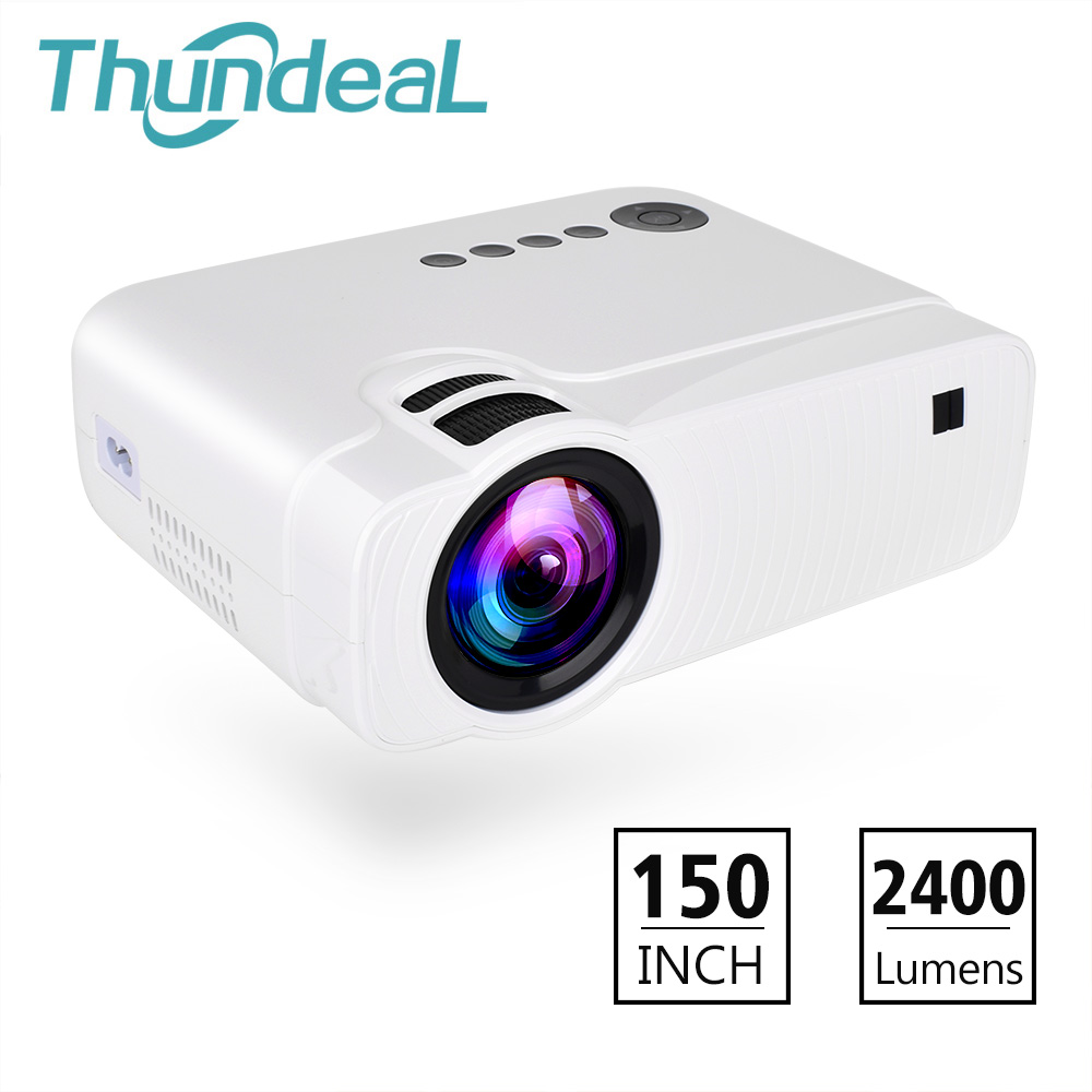 ThundeaL TD30 Projector 2400Lumens Mini LED HD Video Portable Proyector HDMI VGA Support 1080P Game Party Movie LCD 3D Projector uc28 1080p hd 400lm 16770k led lcd projector with hdmi vga slots