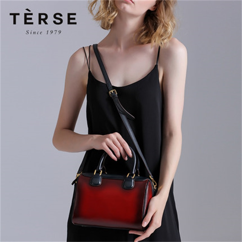Terse 2018 New Women`s Handbags Genuine Real Leather Fashion Luxury Totes Patchwork Color Versatile bag for female Red Bags 9658