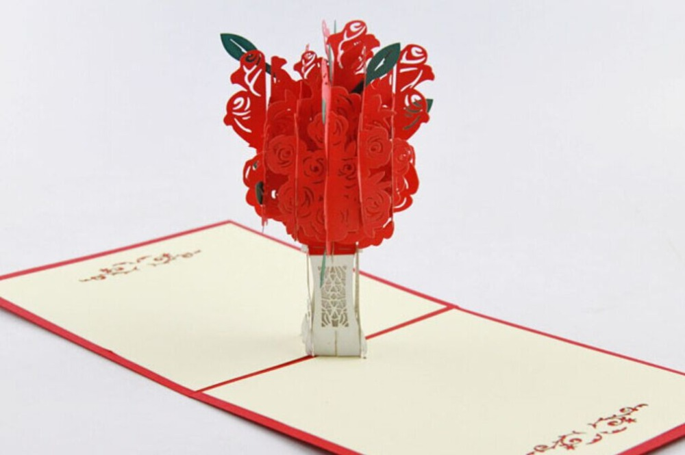 Red Rose Tree pop up card /3D  kirigami card/ handmade greeting card Free shipping carousel horse pop up card 3d greeting card handmade kirigami card free shipping